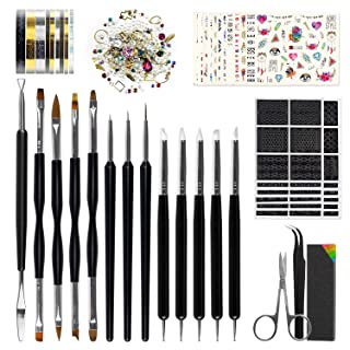 Nail Art Tools Fashion Design - 8 Size Painting Brushes, 5 Carving/Dotting Pen, 12 Style Decals/Stencils, Striping Tapes, Irregular 3D Rhinestones, Manicure Sponge