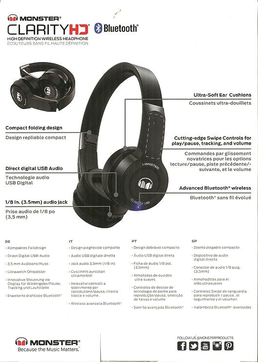 Monster Clarity HD Auricular con Banda de Diadema con inalámbrico Bluetooth Negro: Amazon.es: Electrónica