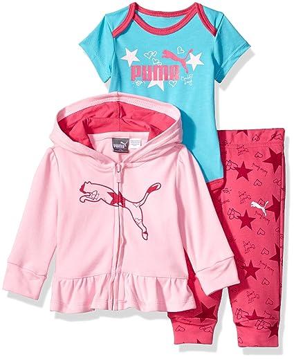 3ca68ca3e9588 Amazon.com: PUMA Baby Girls' Three Piece Creeper Jacket Set: Clothing