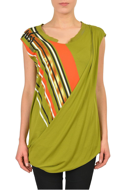 Just Cavalli Green Graphic Sleeveless Women's Tunic Blouse US S IT 40