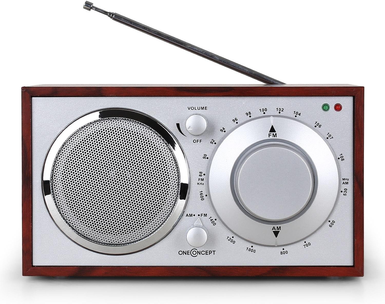 Oneconcept Lausanne Radio Bluetooth(diseño Vintage nostálgico, Receptor  Am/FM, Audio)