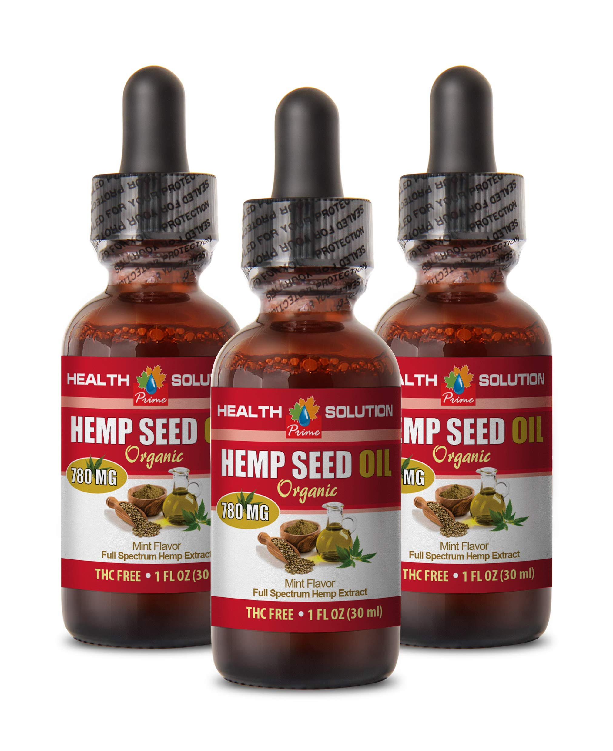 Anti Anxiety Supplements - Hemp Seed Oil Organic 780 MG Drops - Hemp Oil for high Blood Pressure - 3 Bottles 3 FL OZ (90 ML)