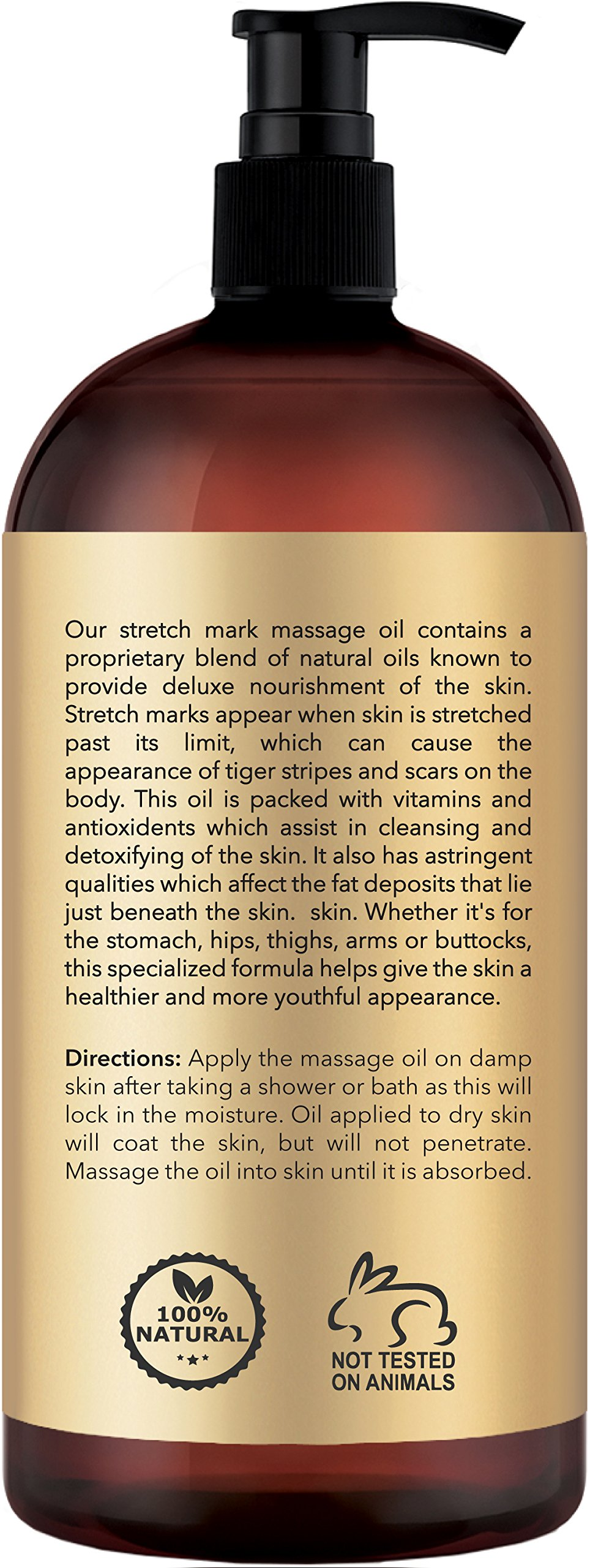 Anti Stretch Marks Massage Oil – All Natural Ingredients – Penetrates Skin 6X Deeper Than Stretch Mark Cream - Targets Unwanted Fat Tissues & Improves Skin Firmness - 8 OZ by PURE PLANT HOME (Image #2)