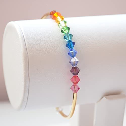 16dbbd3df8d5f1 Image Unavailable. Image not available for. Color: Rainbow Bangle in Gold  with Swarovski Crystals
