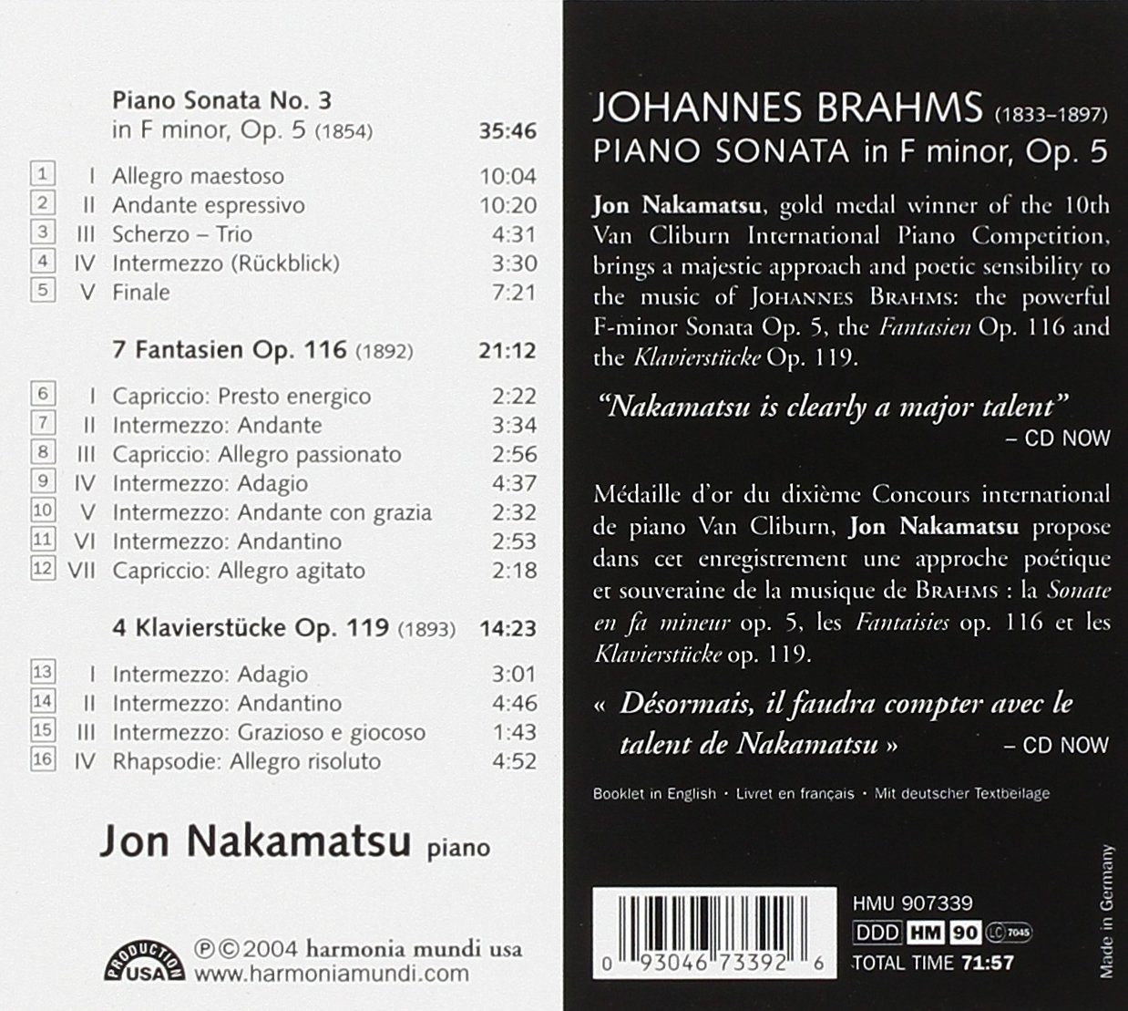 Brahms: Piano Sonata No. 3 in F minor, Op. 5 / 7 Fantasies Op. 116 / 4 Klavierstücke, Op. 119 by HARMONIA MUNDI.