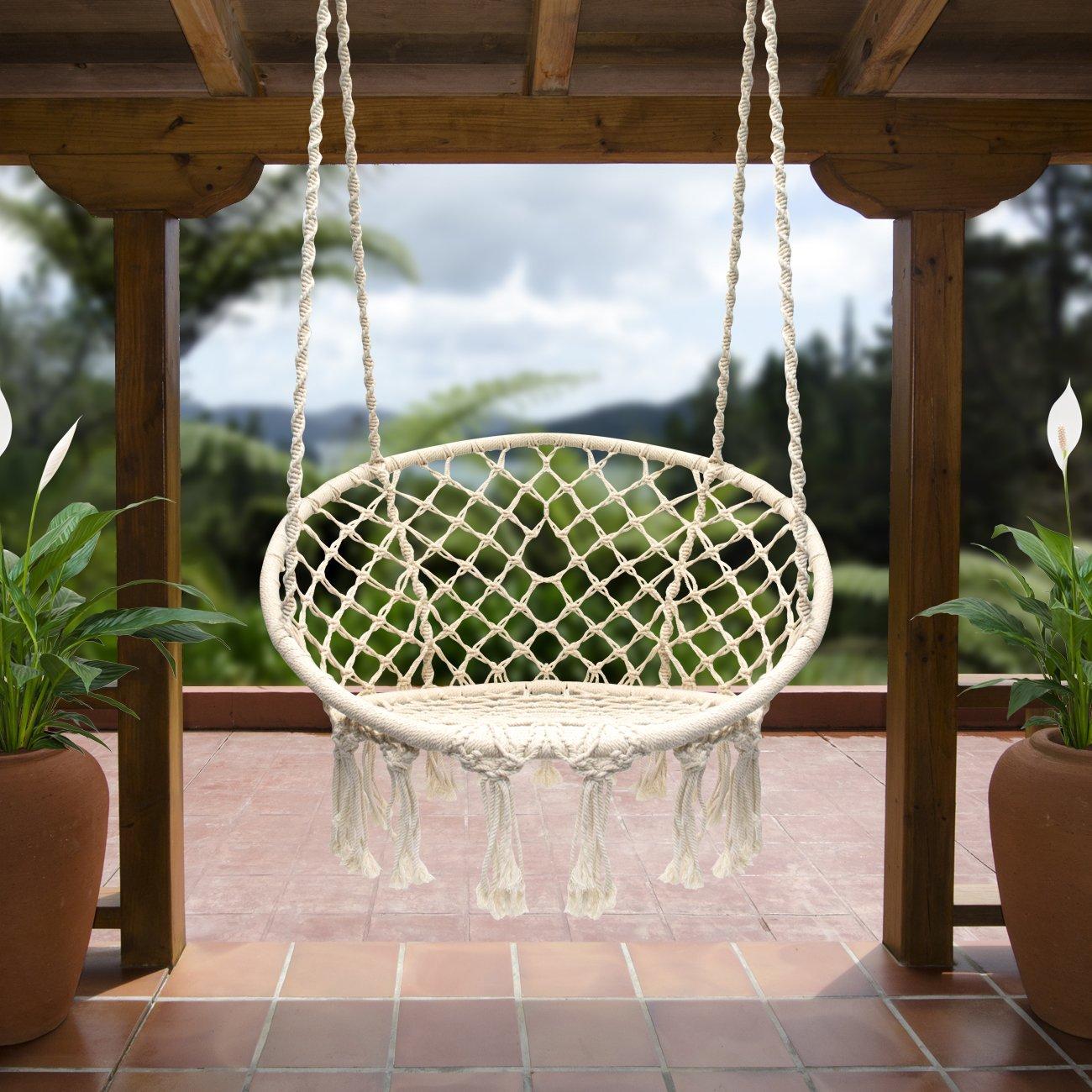 Sorbus silla hamaca Swing de macramé, Capacidad de 265 kg, perfecto para uso en interiores/al aire libre casa, patio, cubierta, Patio, jardín: Amazon.es: ...