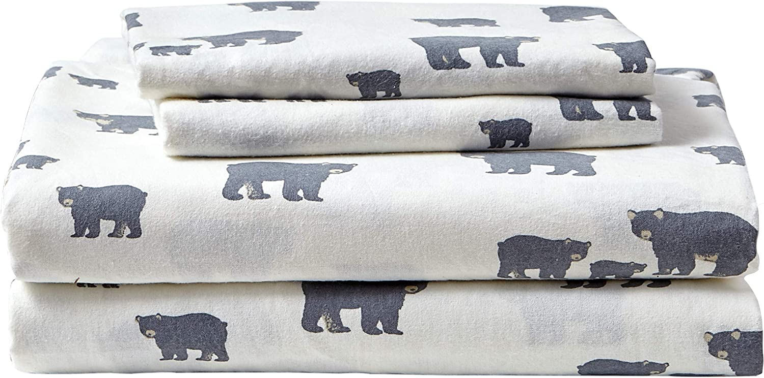 Amazon Com Eddie Bauer Flannel Collection 100 Premium Cotton Bedding Sheet Set Pre Shrunk Brushed For Extra Softness Comfort And Cozy Feel King Bear Family 216288 4 Home Kitchen