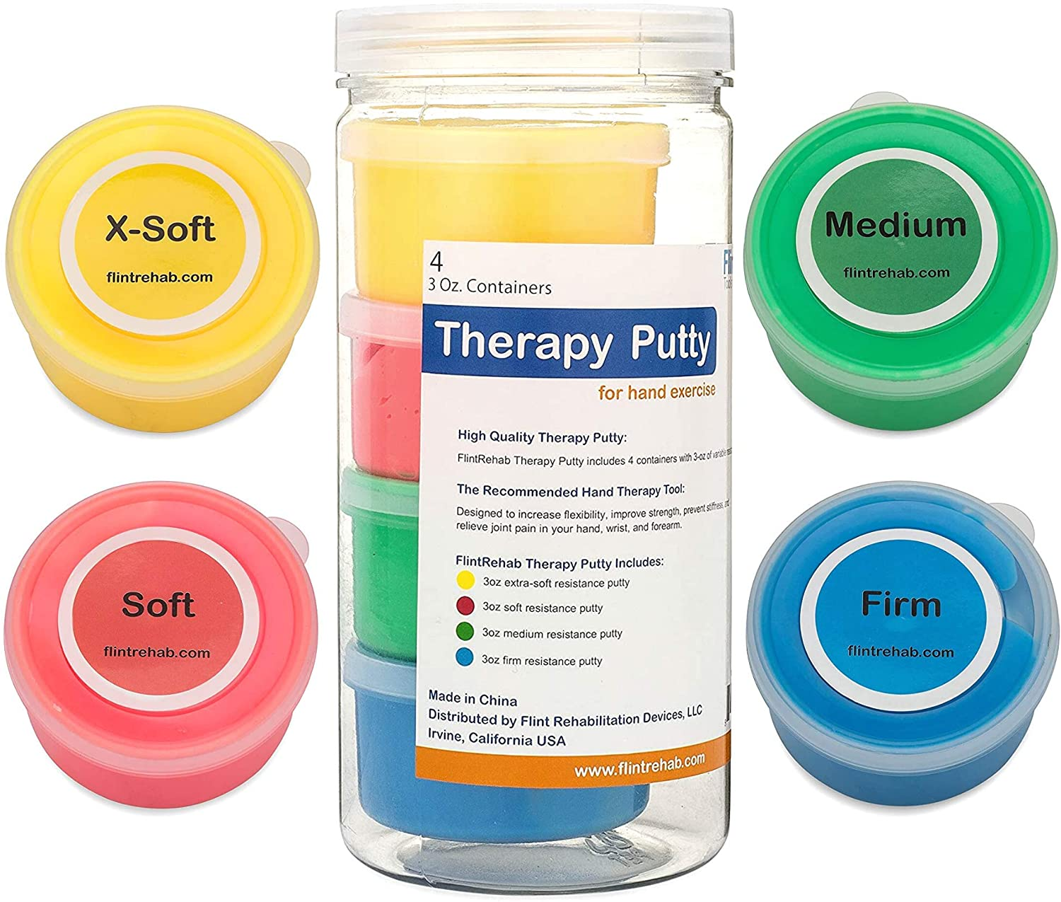 FlintRehab Premium Quality Therapy Putty (4 Pack, 3-oz Each) for Hand Exercise Rehab. Fidgeting, and Stress Relief…: Health & Personal Care