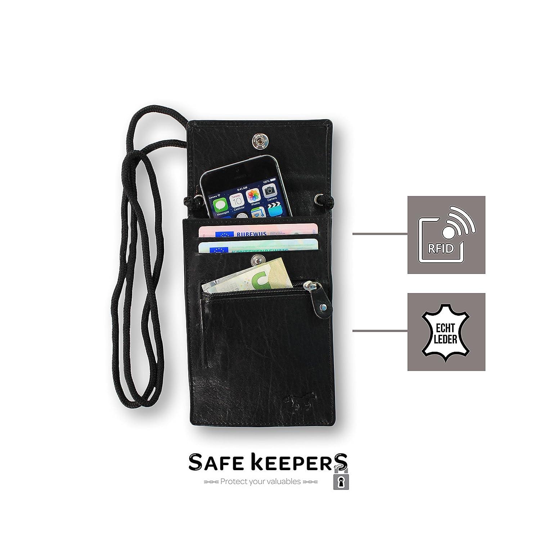 Iphone 6 ou 6+ Pochette de Cou pour Voyage et Passeport avec Vous Prenez votre Mobile Avec RFID Protection 100/% Cuir