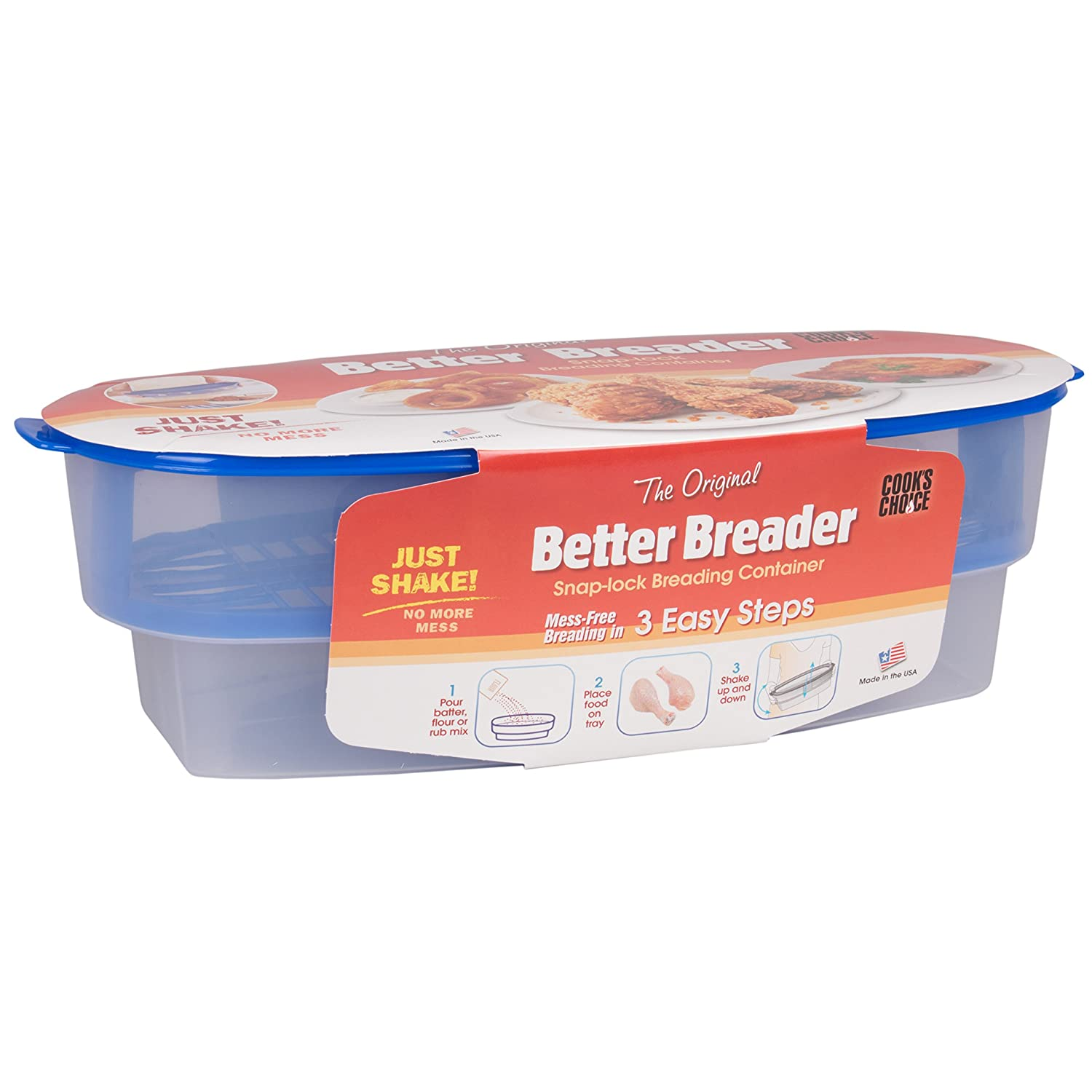 Cook's Choice Original Better Breader Batter Bowl- All-in-One Mess Free Breading Station Tray for at Home or On-the-Go