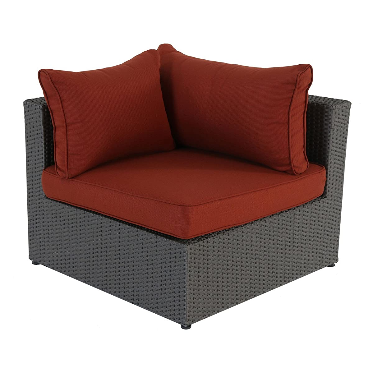 Becket 6-Piece Wicker Sectional Set (Red Cushions)