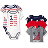 Tommy Hilfiger Baby Boys' Short Sleeved Striped and Solid Bodysuits (Pack of 5)