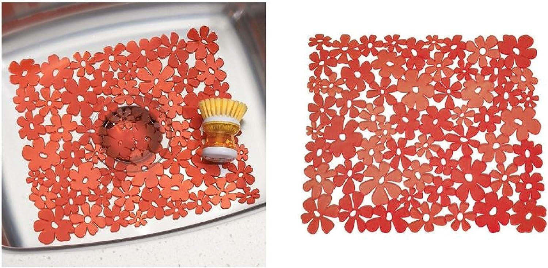 InterDesign Blumz Alfombrilla para fregaderos de Cocina, Protector de Fregadero Mediano en plástico PVC, Rojo
