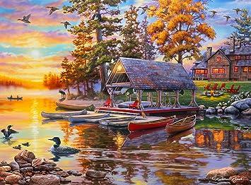 1000 Piece Jigsaw Puzzle Buffalo Games Darrell Bush Canoe Lake Christmas Gift