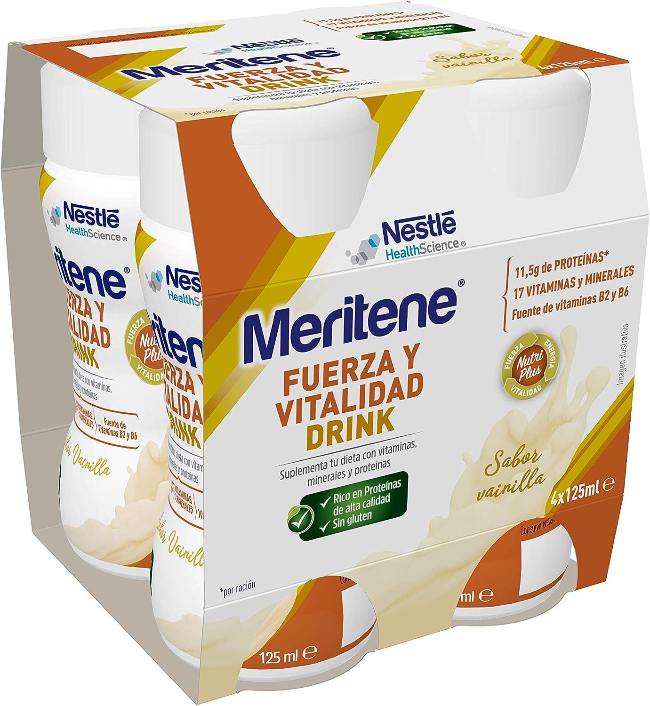 Meritene® FUERZA Y VITALIDAD - Suplementa tu nutrición y refuerza tu sistema inmune con vitaminas, minerales y proteínas - Bebida de Vanilla - Botella ...