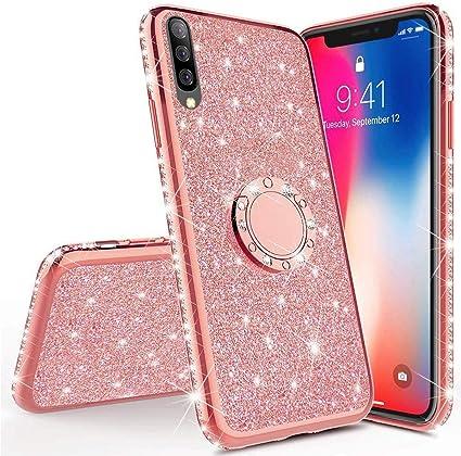 Coque Compatible avec Samsung Galaxy A70 /Étui Housse Placage Paillette Brillant Bling Glitter Diamant Strass Silicone Souple Cristal Gel TPU Tout Compris Antichoc Protecteur Bumper Cover,Rouge