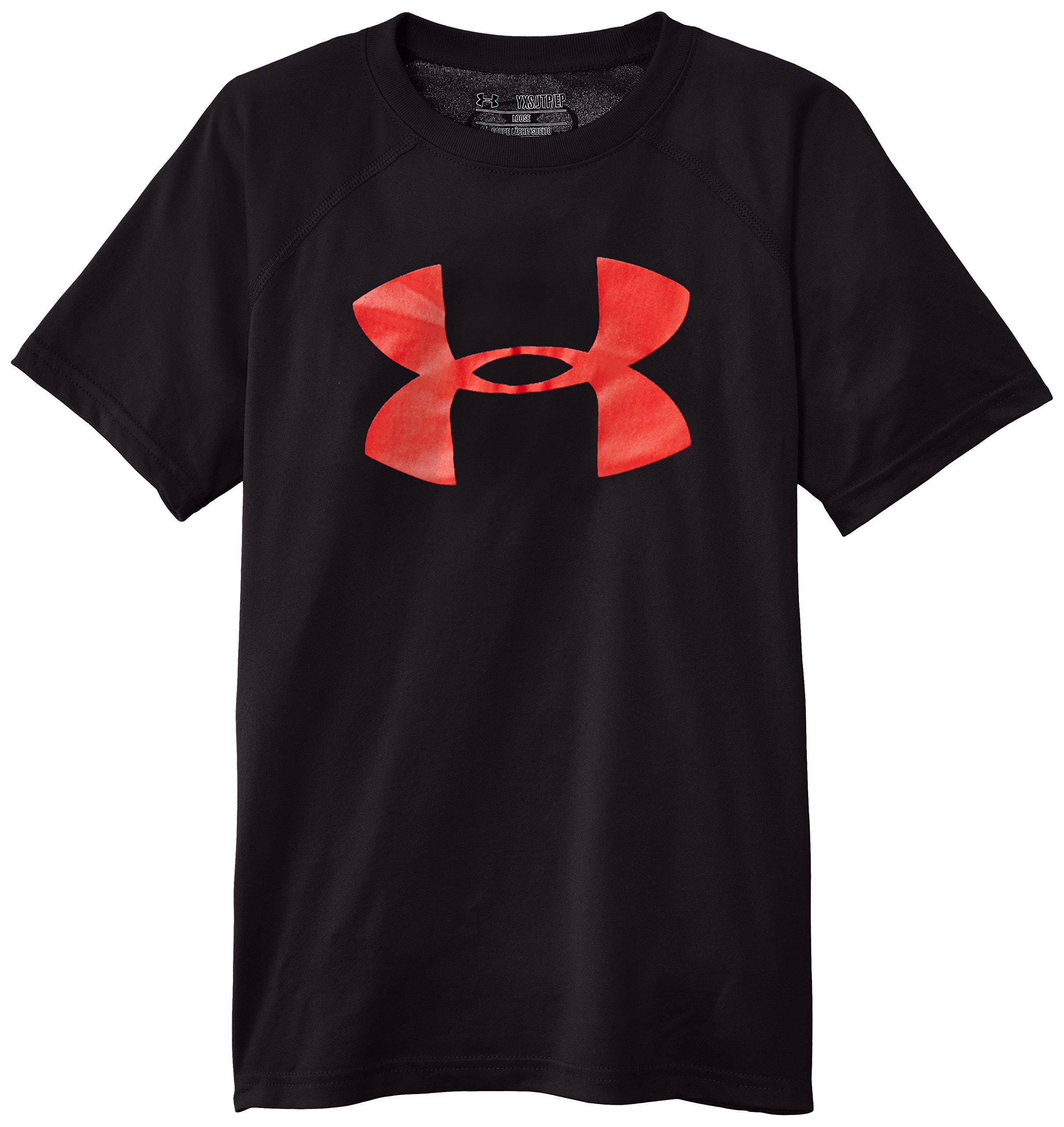 Under Armour Boys' Tech Big Logo T-Shirt, Black /Risk Red, Youth X-Small