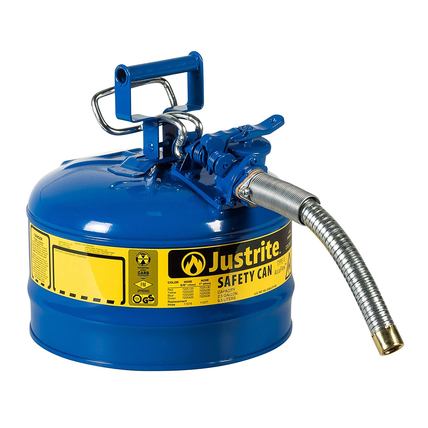Justrite AccuFlow 7225330 Type II Galvanized Steel Safety Can with 1 Flexible Spout 2.5 Gallon Capacity Blue