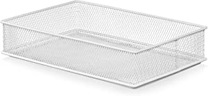 YBM HOME White Mesh Drawer Cabinet and or Shelf Organizer Bins, School Supply Holder Office Desktop Organizer Basket (1, 6x9x2 Inch)