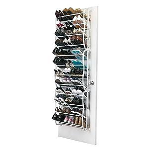 Simplify 36 Pair Adjustable Over The Door Shoe Rack, White