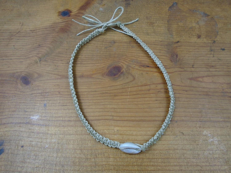 BEACH HEMP JEWELRY Cowrie Shell Choker Necklace 16-20 Inch Men's Women's Adjustable Handmade In USA