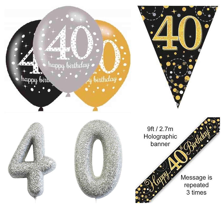 amscan 9900568 4m Gold Celebration 40th Prismatic Happy Birthday Pennant Banner