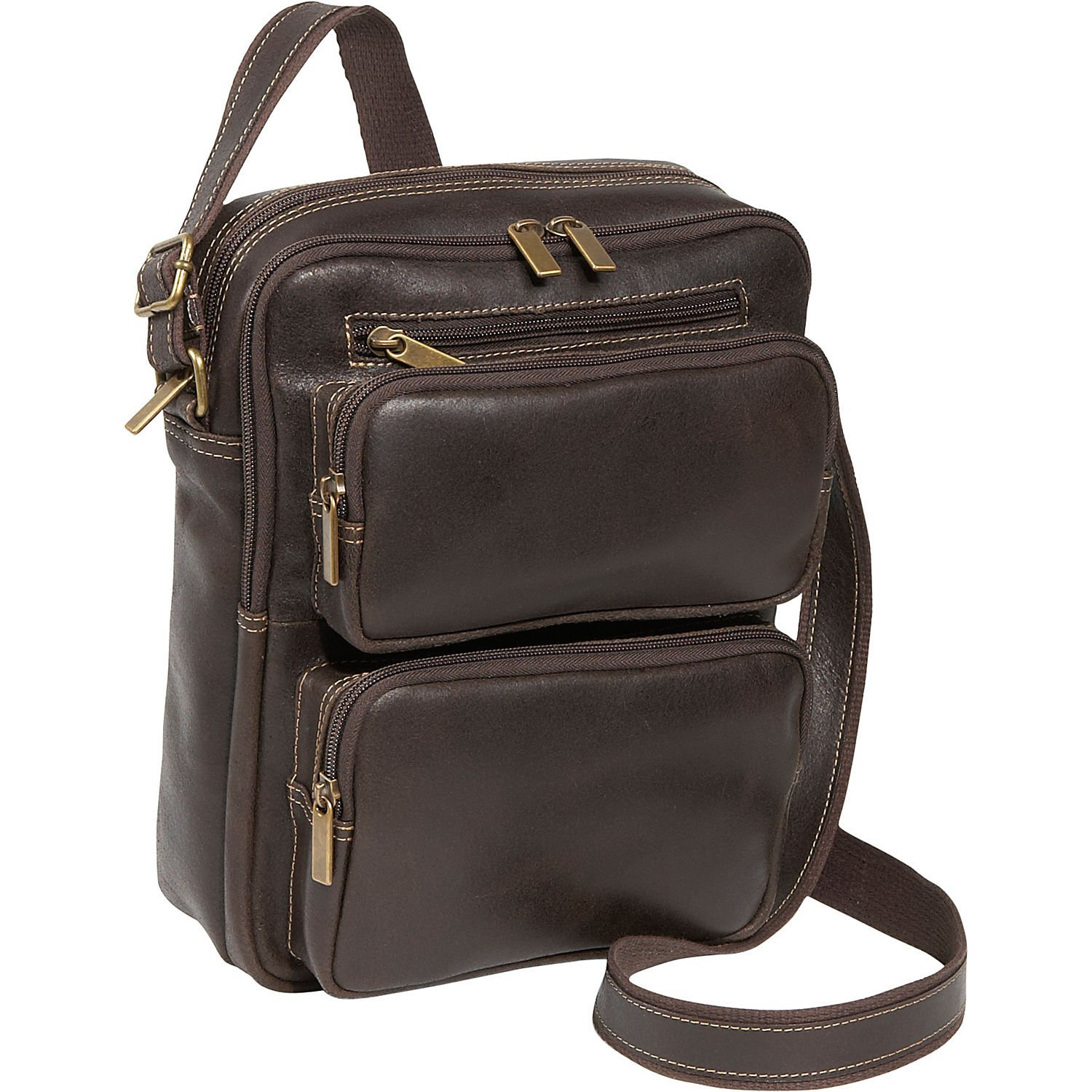 LeDonne DS-083-CHOC Distressed Multi Pocket iPad/E-Reader Men's Bag, Leather by LeDonne