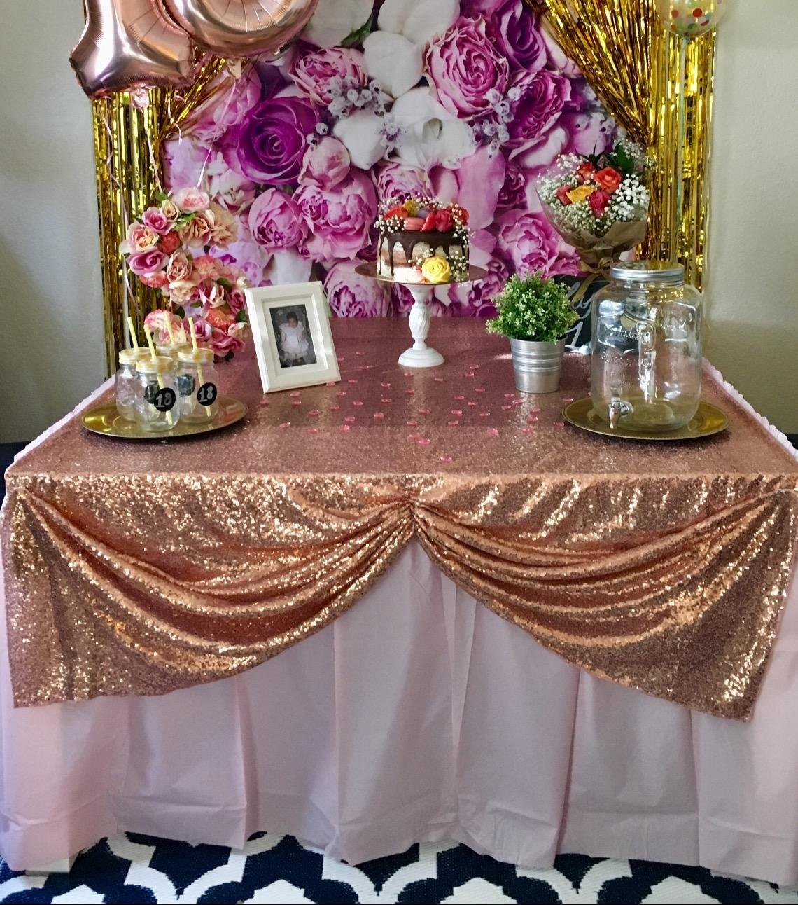 Sequin Table Clothes 50x102 inch Rose Gold Sequin Tablecloth Sequin Overlay Sparkle Table Decor for Wedding by SoarDream (Image #4)