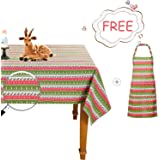 Face Forever Christmas Tablecloth and Apron Xmas Tree Reindeer Snowflake Fabric Home Indoor Decorations Rectangle Table Cover 60 x 120''