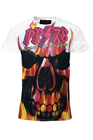 11b0a9206b138 Philipp Plein T-Shirt Top Burning Skull White Limited Edition ...