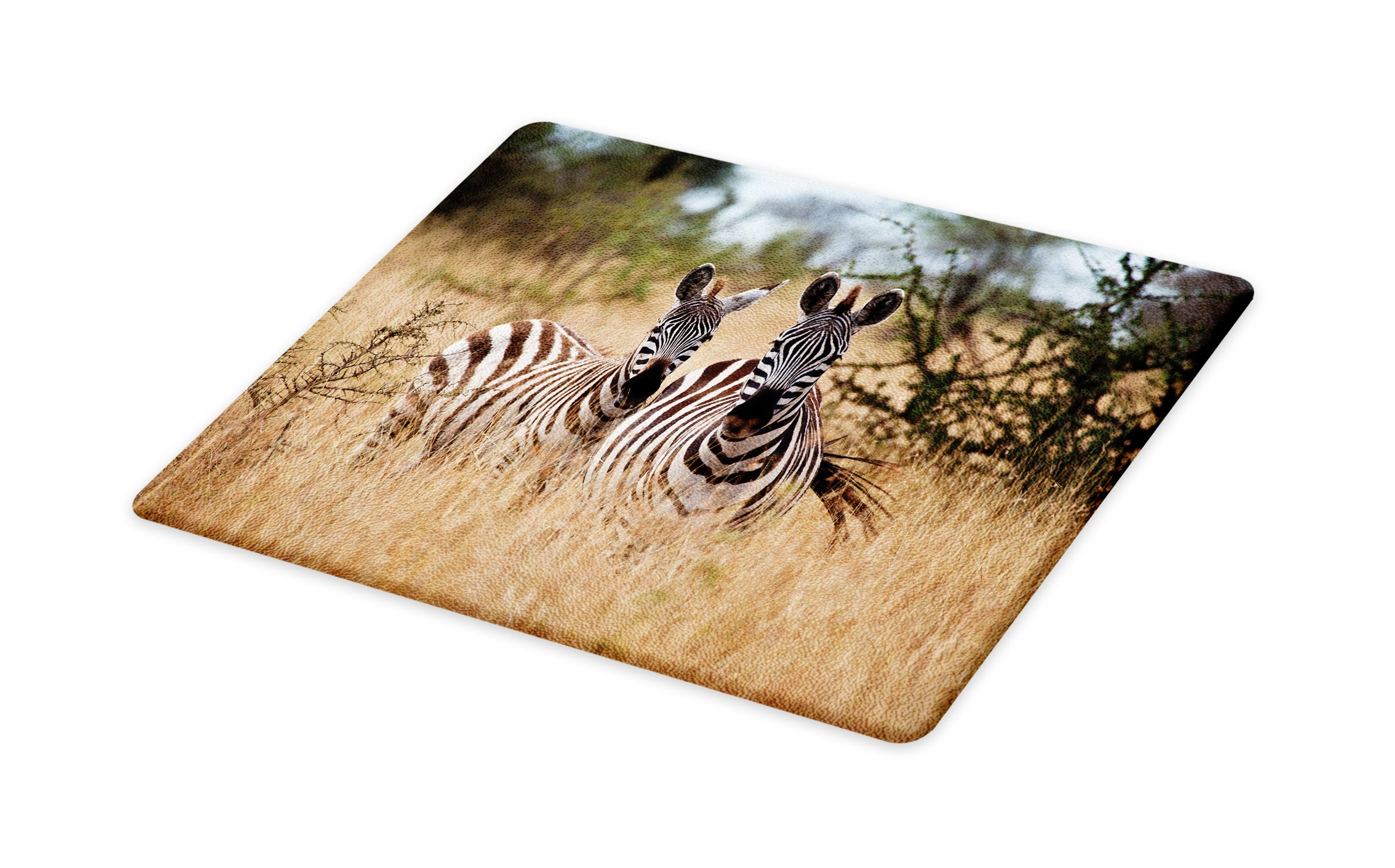 Lunarable Africa Cutting Board, Kenya with Zebras in The High Bushes Looking at The Camera Striped Unique Animal, Decorative Tempered Glass Cutting and Serving Board, Large Size, Multicolor