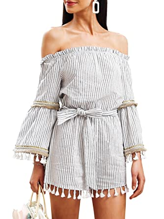 1672e2cb242 Amazon.com  Simplee Apparel Womens Off Shoulder Long Sleeve Striped Short Jumpsuit  Romper Blue  Clothing