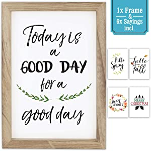 "Farmhouse Wall Decor Signs With Inspirational Sayings - Easy To Hang 11x16"" Rustic Wood Frame Incl. 6x Beautiful Designs - The Perfect Today Is Good Day For A Good Day Set To Enhance Your Home Decor"