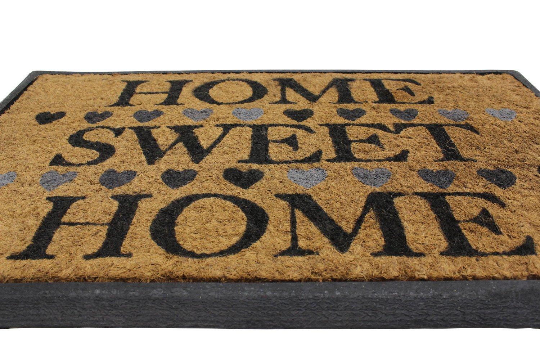 JVL Felpudo Fibra de Coco y Base de Goma Tejido a dise/ño de Granito 45/x 75/cm/ Multi//Colour /Home Sweet Home 45 x 75 x 1 cm