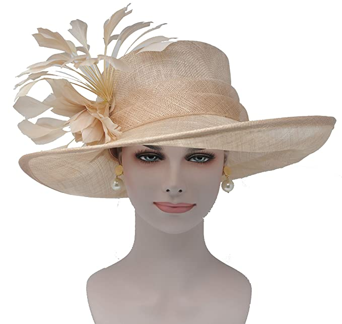 a0c600e3a ray&danile Wide Brim Sinamay Hat with Feather Flowers, Champagne ...