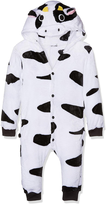 Kigurumi Costume Cosplay Halloween Black and White Milk Cow, Pigiama Unisex-Bambini