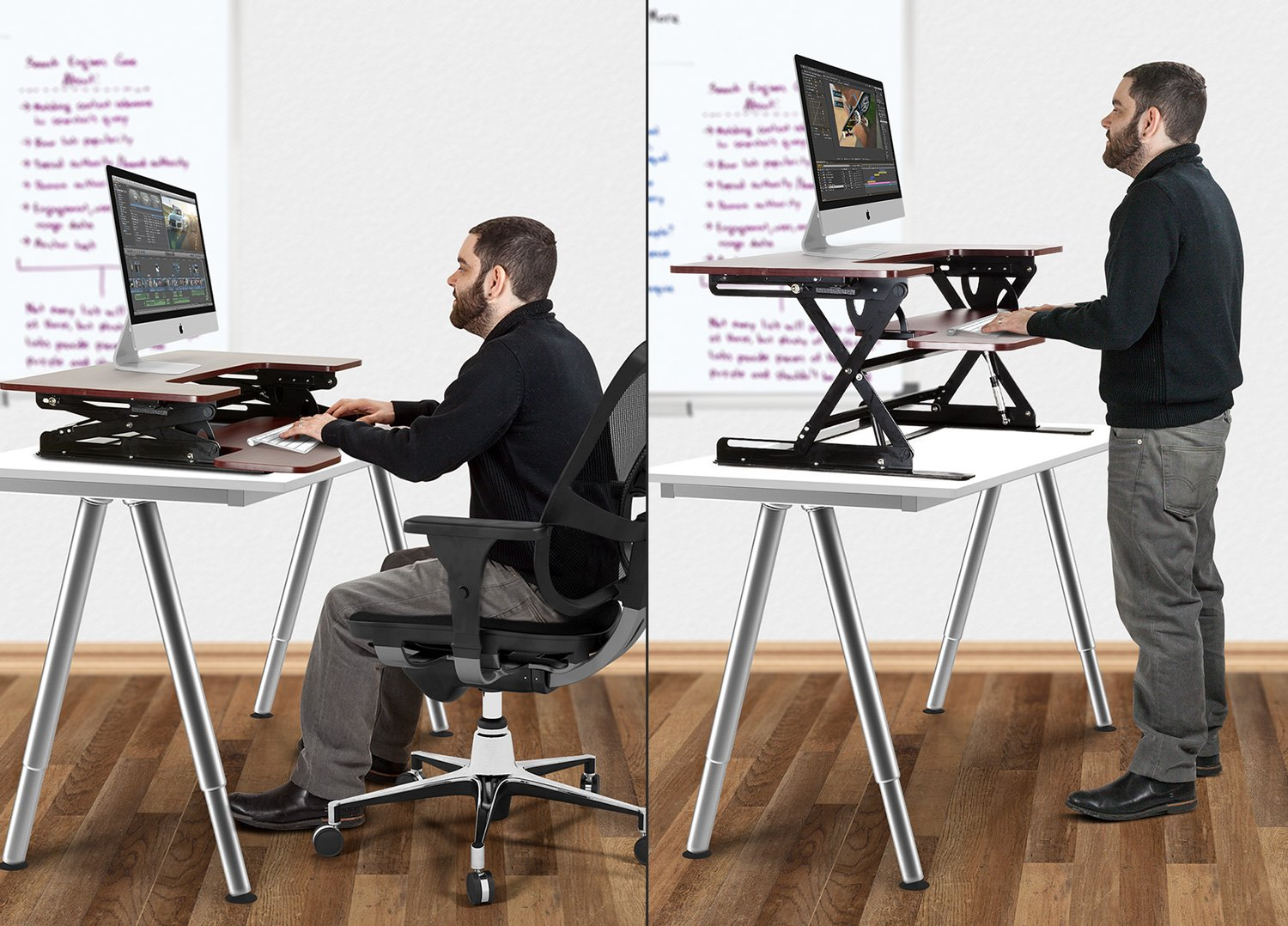 Halter ED-259 Preassembled Height Adjustable Desk Sit / Stand Elevating Desktop with 2 Power Outlets and 2 USB Charging Ports by Halter (Image #6)