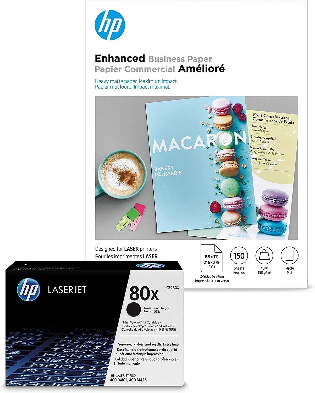 HP 80X Black High Yield Toner + HP Brochure Paper, Matte, Laser, 8.5 x 11, 150 sheets, Enhanced