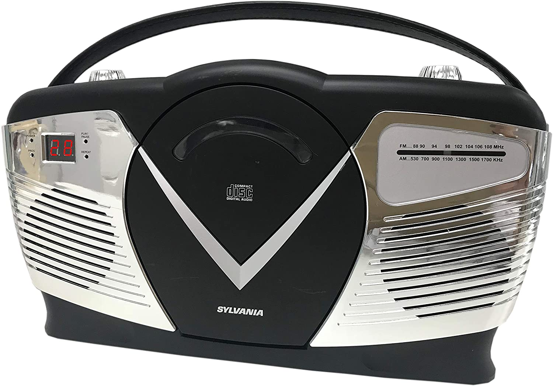 Sylvania Portable CD Boombox with AM//FM Radio Retro Style Red