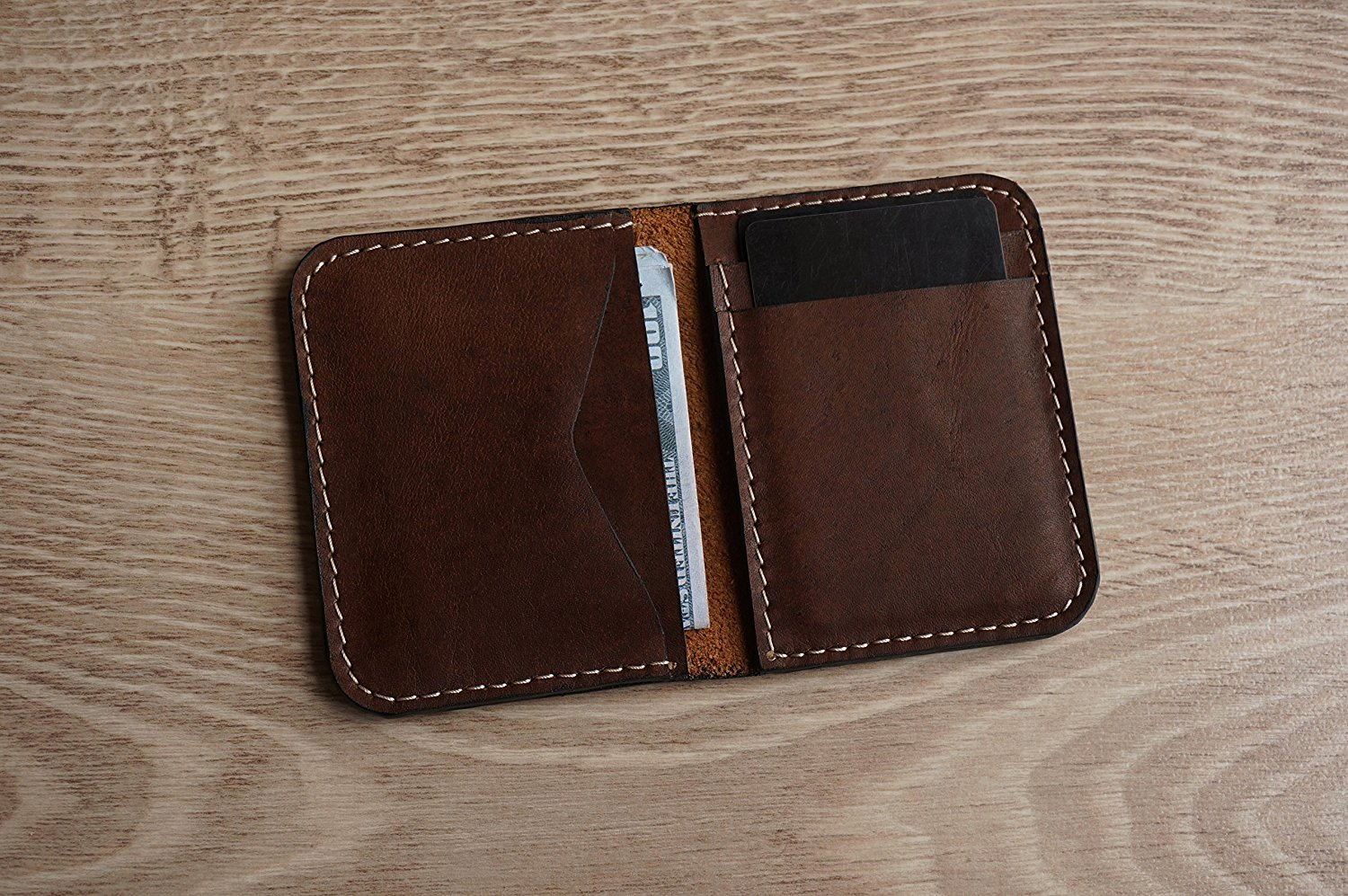 Brown leather card holder & wallet in one. Genuine crazy horse slim card holder in a minimalist design. Tiny card holder to slip in a front pocket