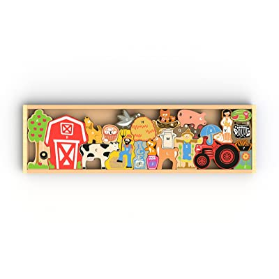BeginAgain Farm A to Z Puzzle and Playset - Educational Alphabet Puzzle - Kids 3 and Up: Toys & Games