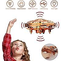 Syinwa Mini Drone UFO Toy per Bambini, Flying Ball Toy Controllato a Mano con Luce a LED e Rotazione di 360°, Regali per Ragazzi e Ragazze - Gold