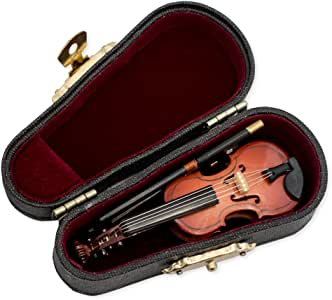 Violin Music Instrument Miniature Replica with Case, Size 3 in.