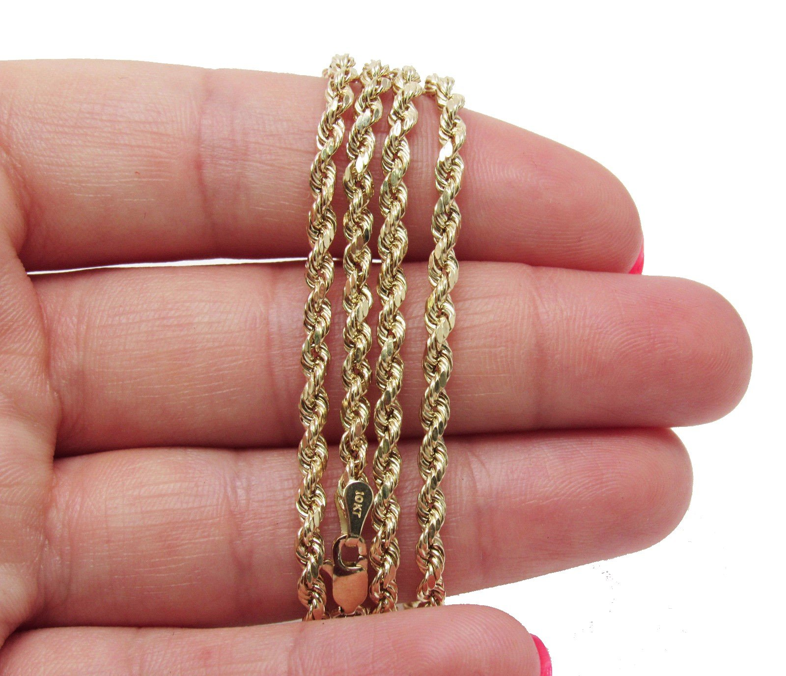 10K Yellow Gold Italian Rope Chain 30'' 3mm wide Hollow 7.4 Grams by Melano Creation (Image #3)