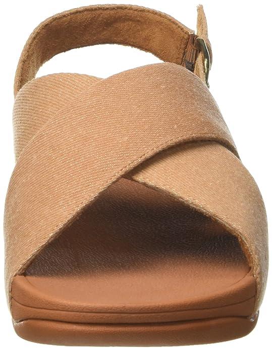 FitFlop Lulu Cross Slide Shimmer-Denim, Sandales Bout Ouvert Femme, Beige (Beige Shimmer-Denim 542), 40 EU