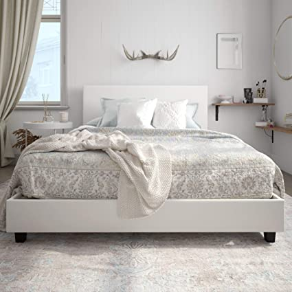 . Carley Upholstered Bed  White Faux Leather  Queen