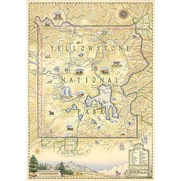 Amazoncom Yellowstone National Park Map Map Art Prints - Yellowstone map