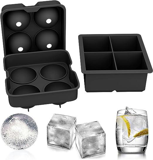 TONVER moldes de silicona para cubitos de hielo, juego de 2 esferas redondas para hacer bolas de hielo y molde cuadrado grande para cubitos de hielo: Amazon.es: Hogar