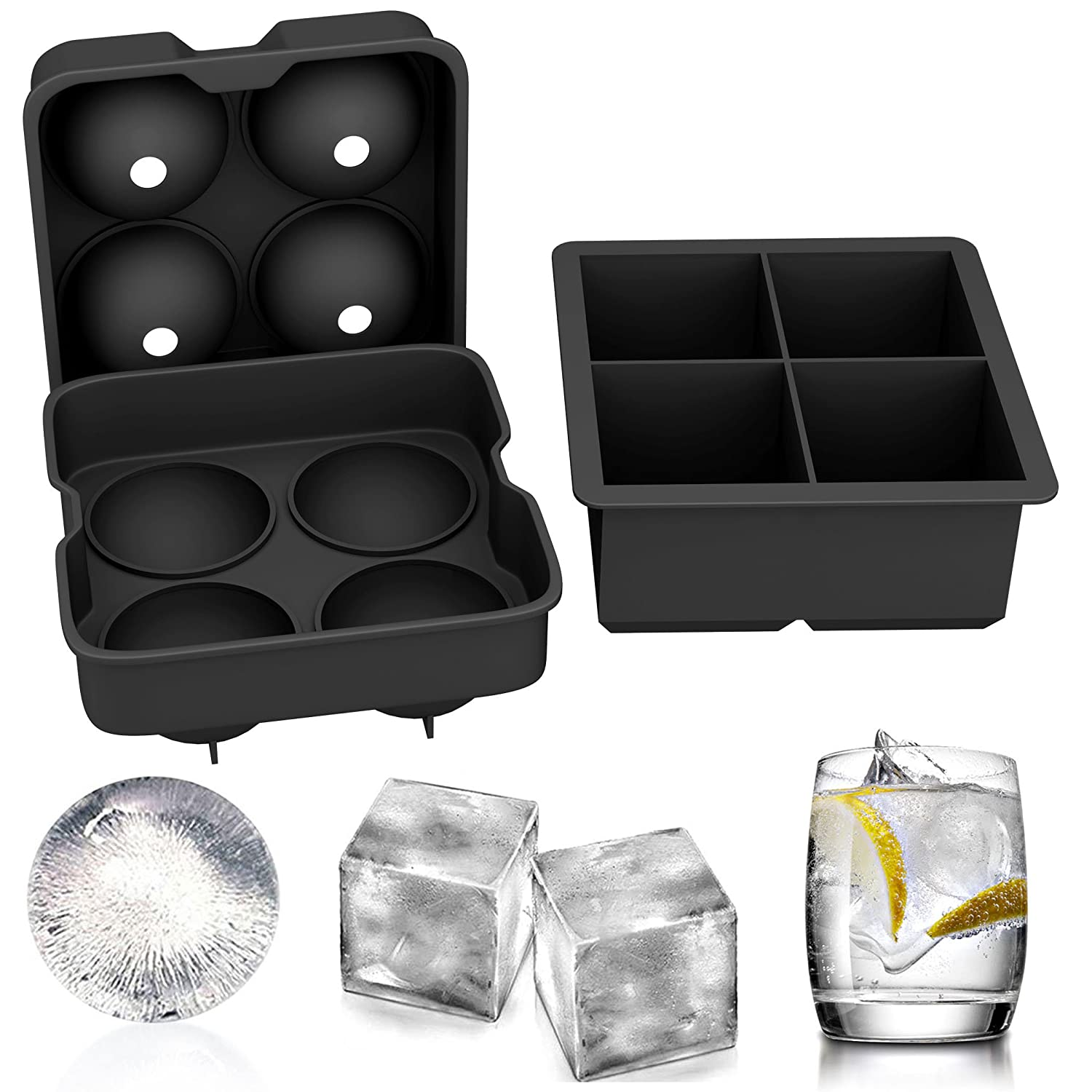 GerTong Ice Cube Molds Set of 2 - Silicone Ice Ball Maker Sphere Round Ice Cubes and Large Square Ice Cube Trays, Reusable & BPA Free
