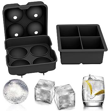 TONVER moldes de silicona para cubitos de hielo, juego de 2 esferas redondas para hacer bolas de hielo y molde cuadrado grande para cubitos de hielo: ...